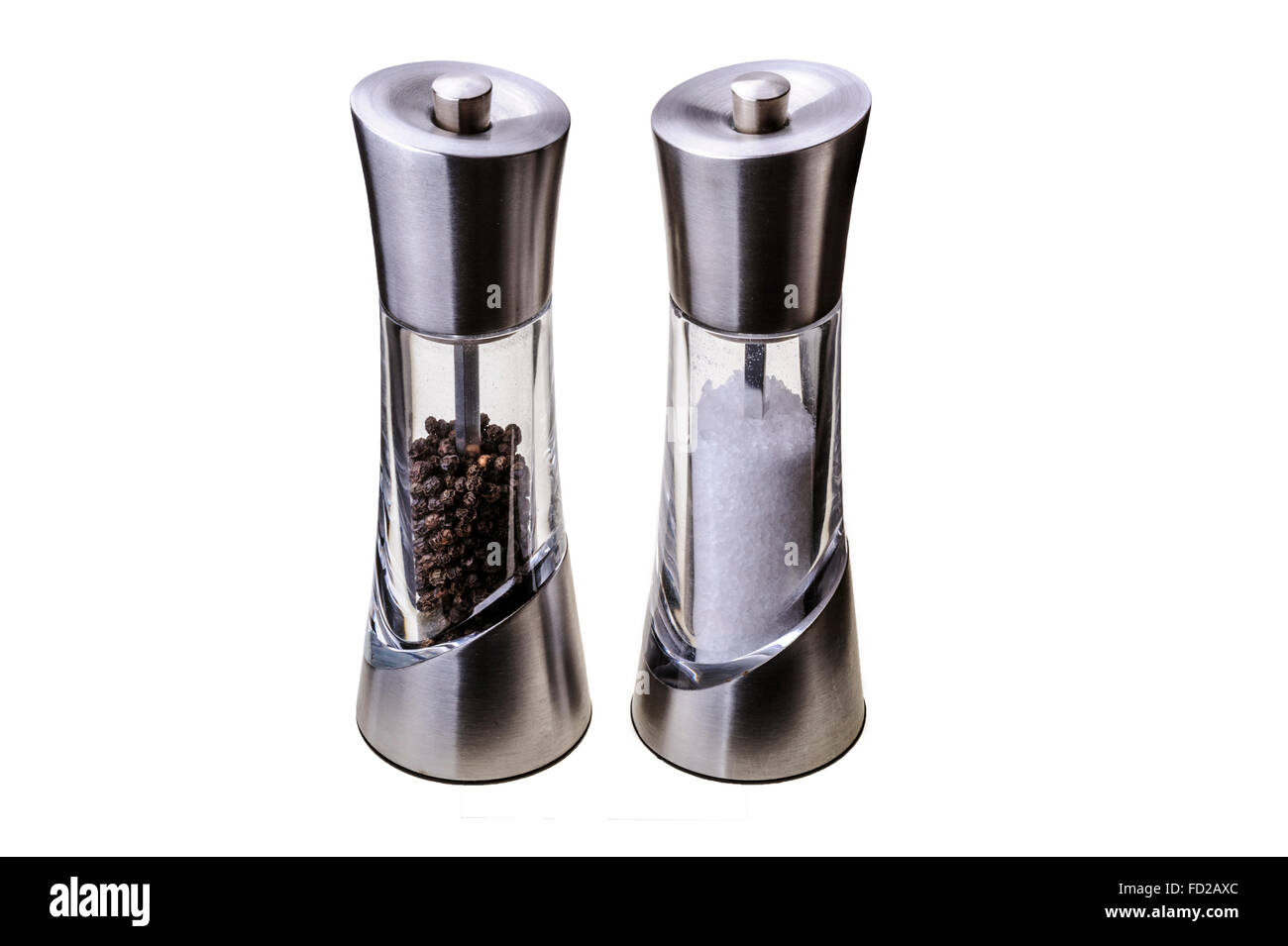 Stainless steel and glass salt and pepper mill's. - Stock Image