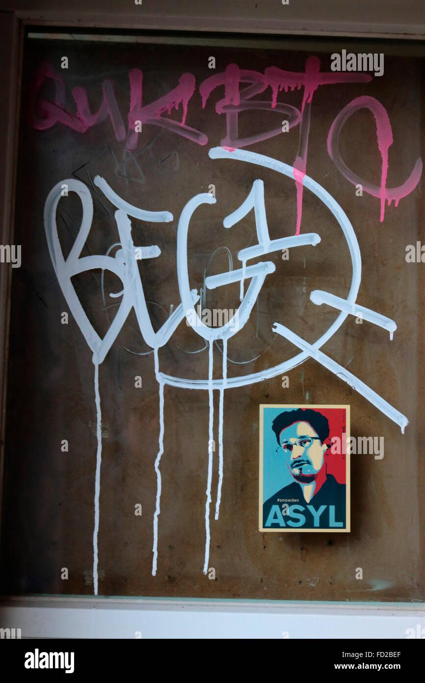 Edward Snowden-Aufkleber, Berlin-Kreuzberg. - Stock Image