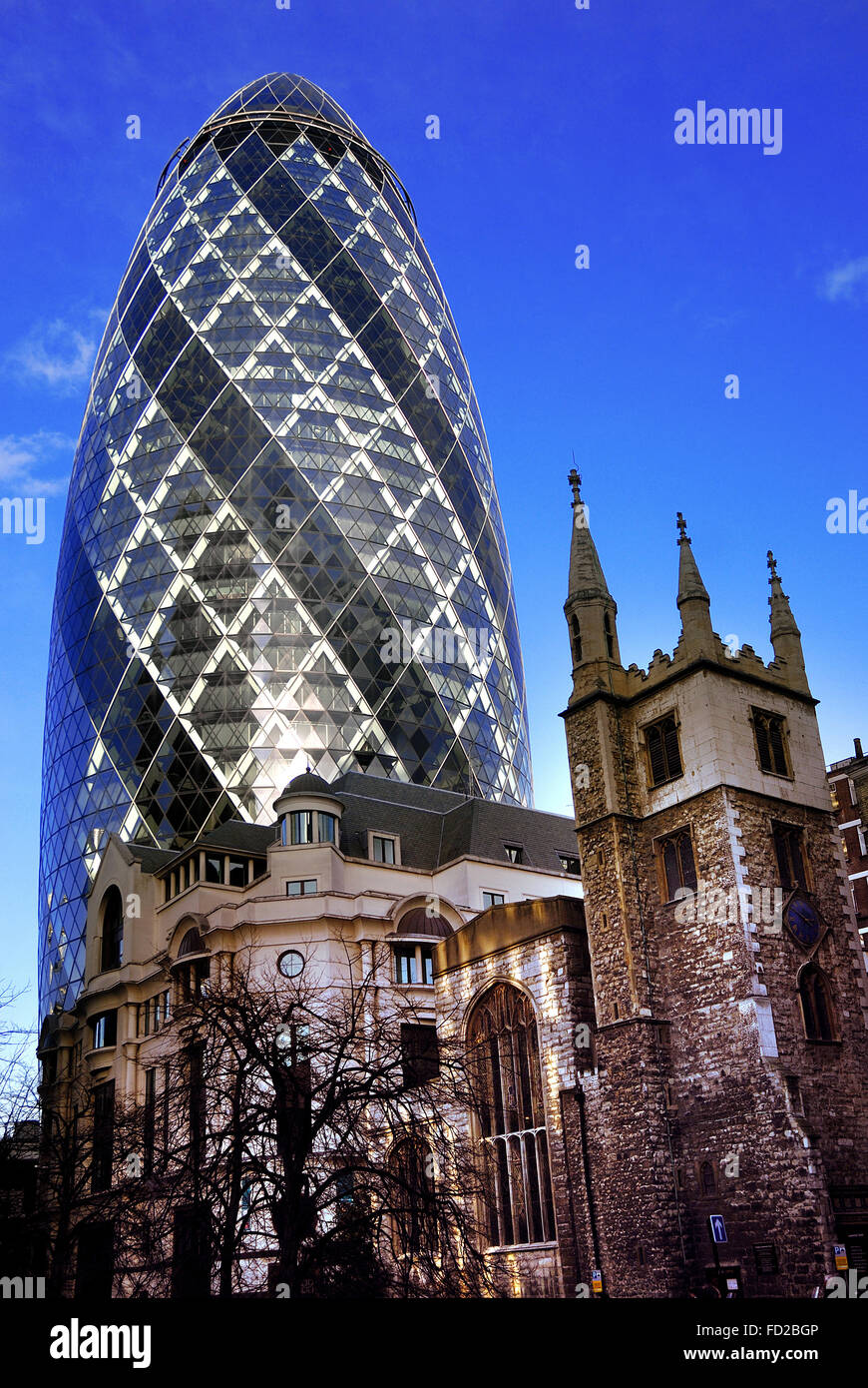 Swiss Re Building  'The Gherkin' , London financial district - Stock Image