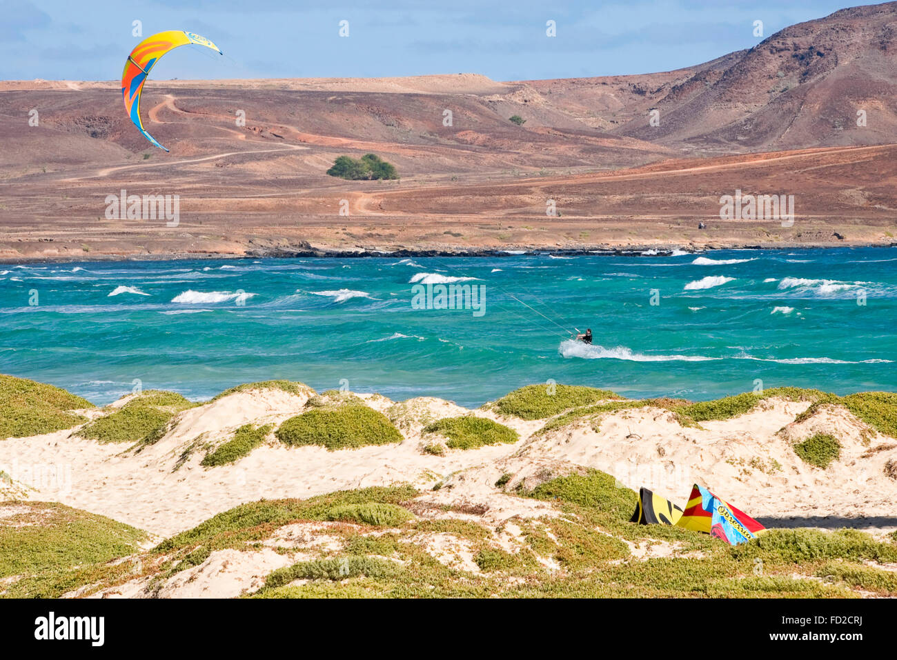 Horizontal view of a kite surfer in Cape Verde. Stock Photo