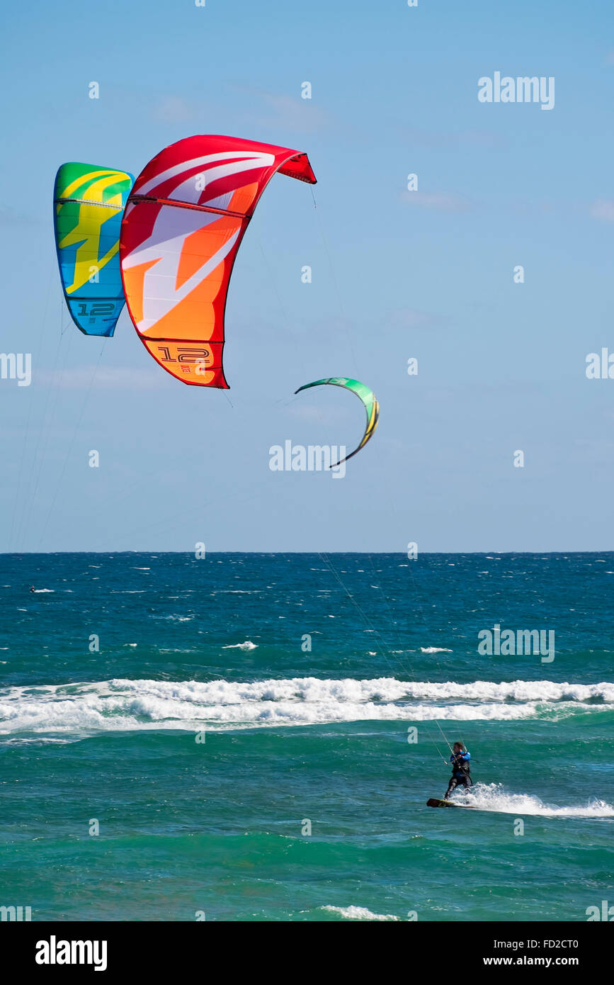 Vertical view of a kite surfer in Cape Verde. Stock Photo