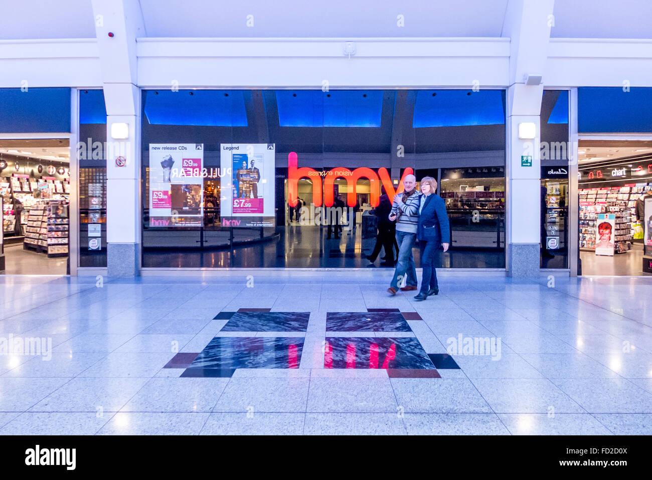 A branch of HMV in Churchill Square shopping mall, Brighton. - Stock Image