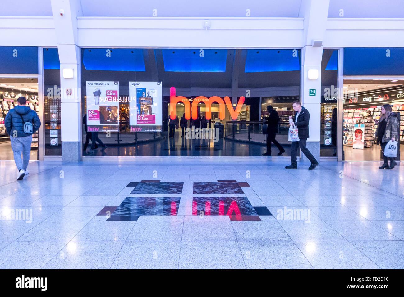 A branch of HMV in Churchill Square shopping mall, Brighton. Stock Photo