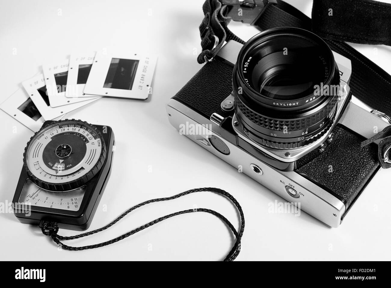 old film camera light meter and slides stock photo 94097025 alamy