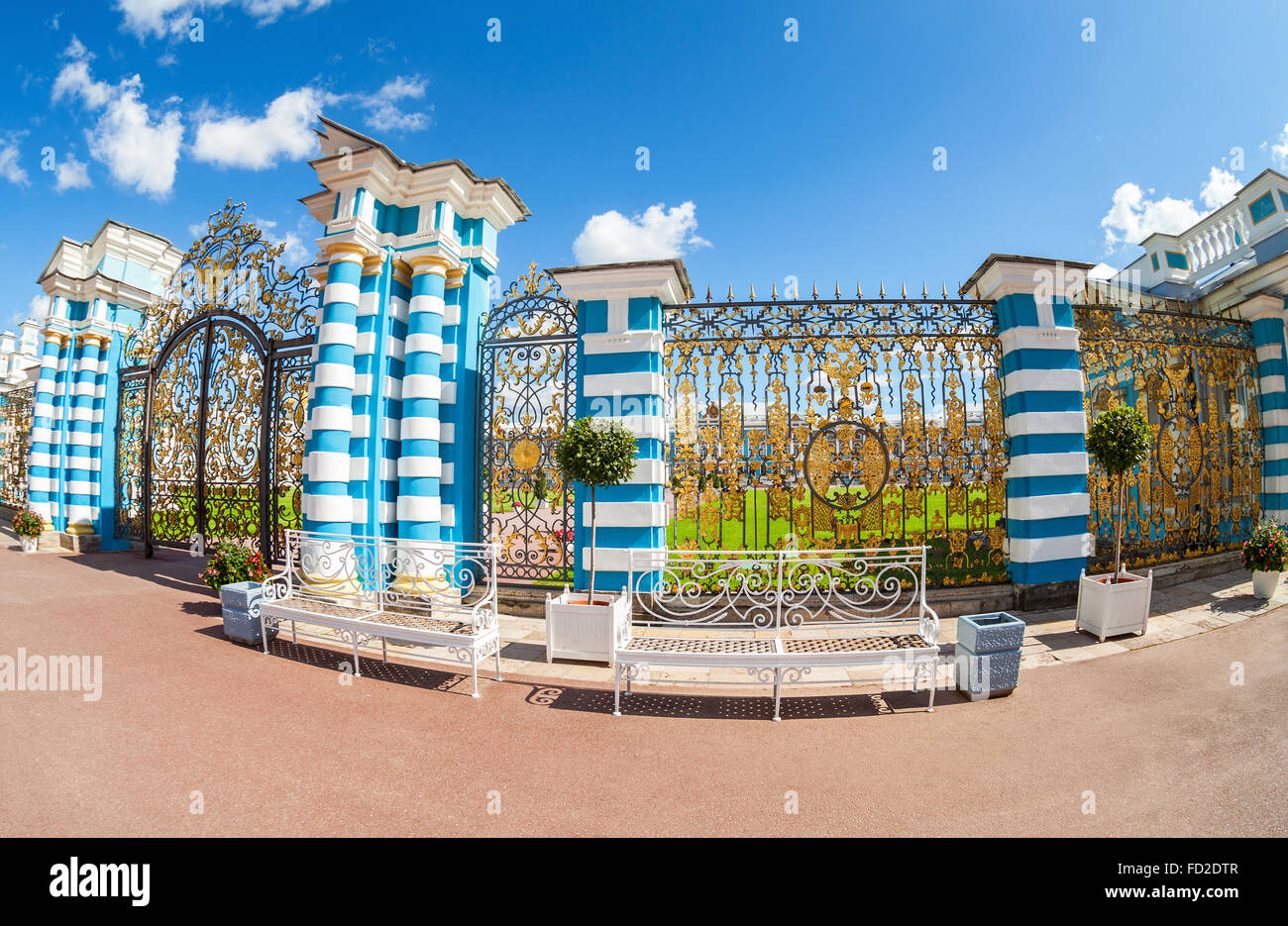 Openwork gate of Catherine Palace - the summer residence of the Russian tsars. - Stock Image