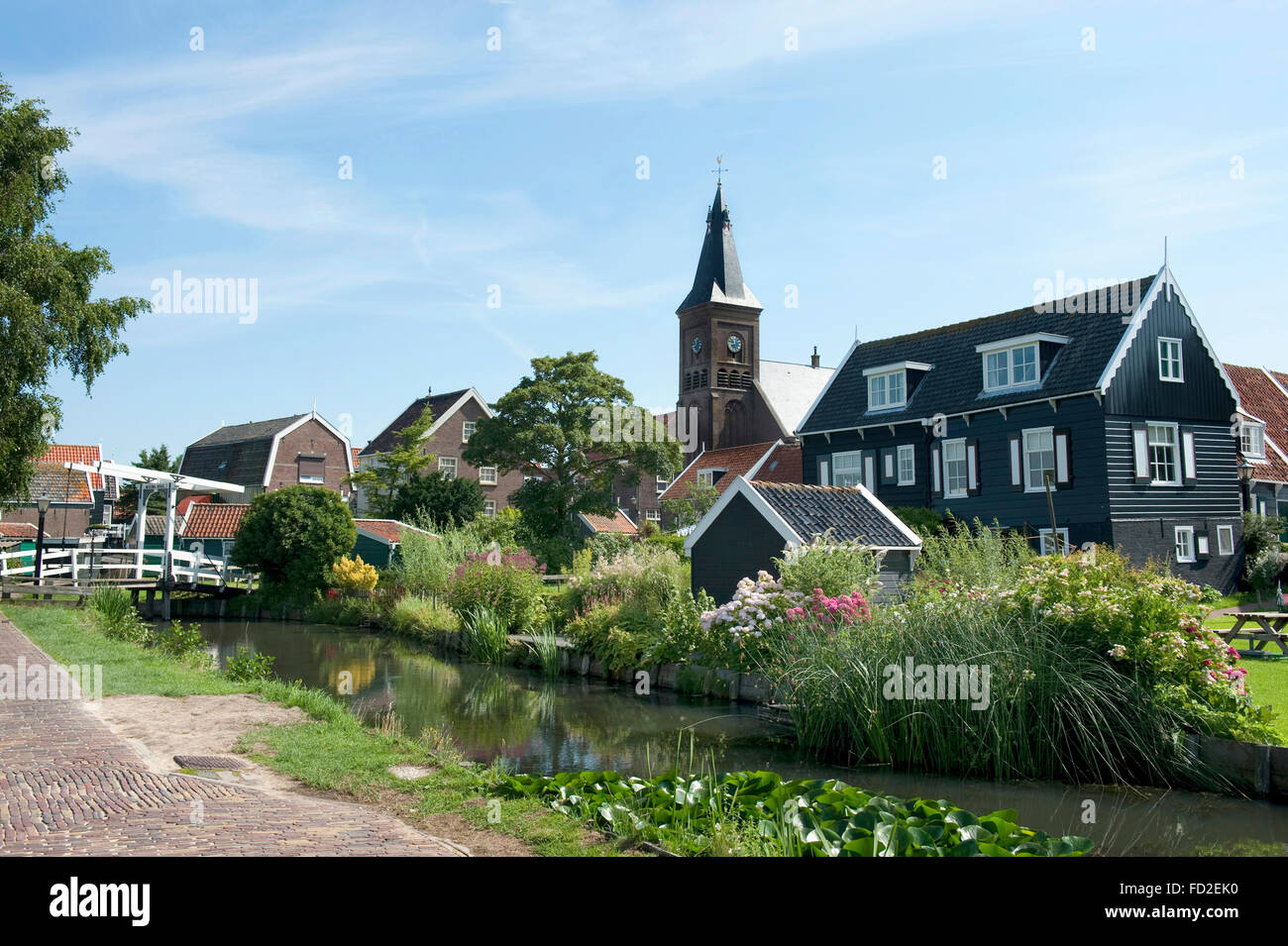 View at the old fishing village   of Marken in the Netherlands - Stock Image