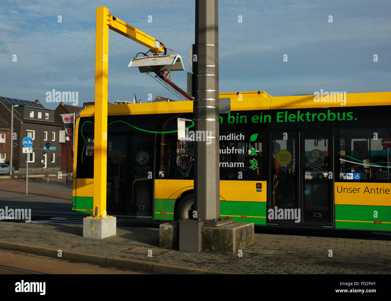 tranport, road traffic, passenger transportation, electric bus at a charging station, Battery electric bus Solaris - Stock Image