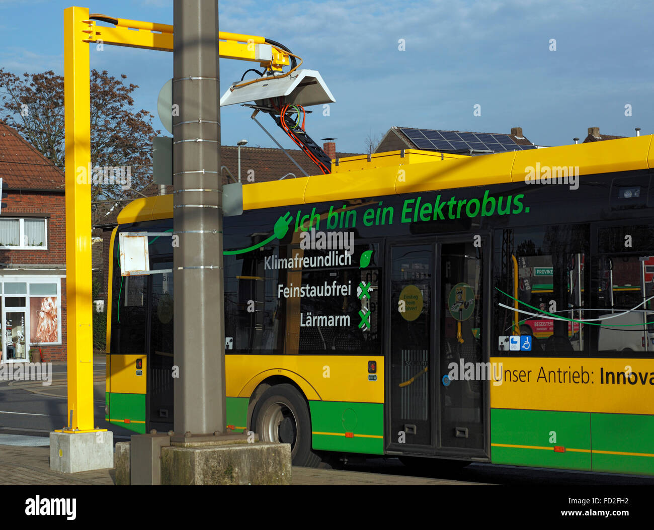 tranport, road traffic, passenger transportation, electric bus at a charging station, Battery electric bus Solaris Stock Photo