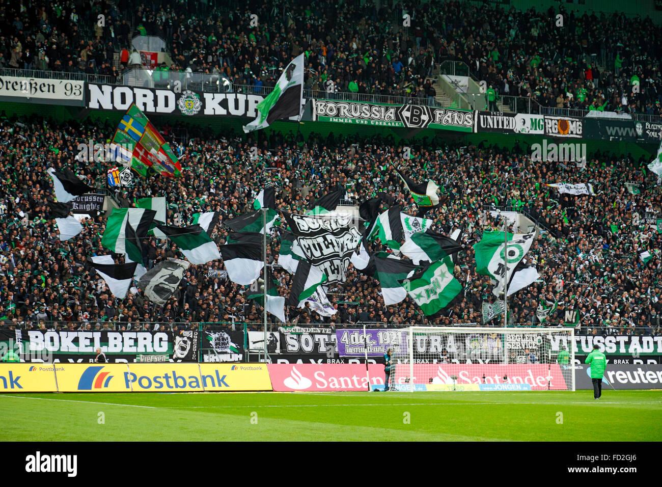 sports, football, Bundesliga, 2015/2016, Borussia Moenchengladbach versus FC Bayern Muenchen 3:1, Stadium Borussia Stock Photo