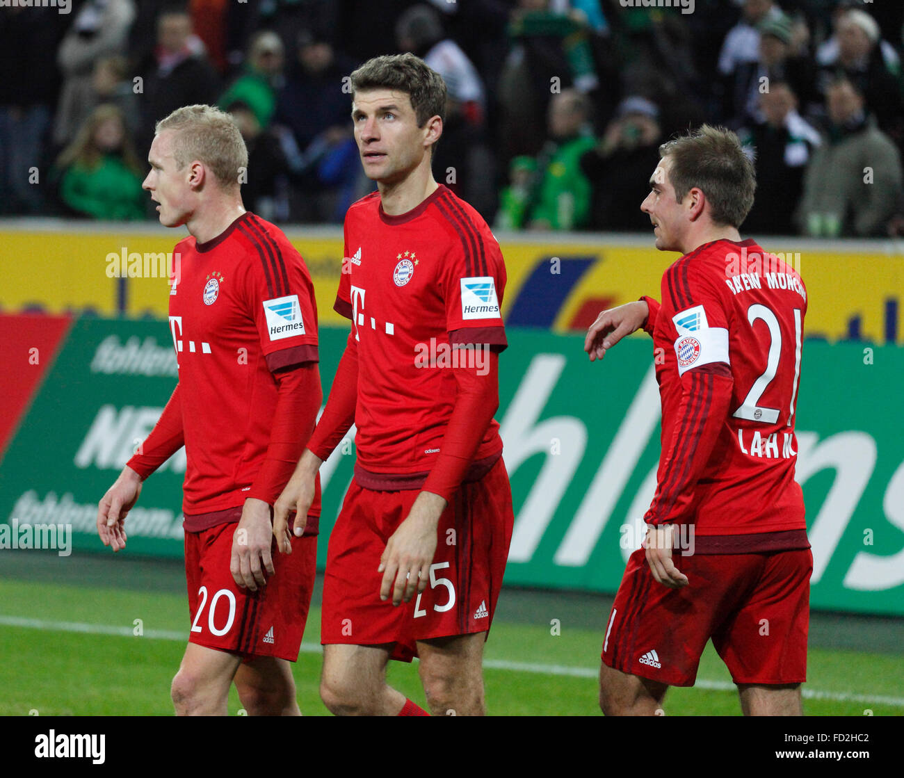 sports, football, Bundesliga, 2015/2016, Borussia Moenchengladbach versus FC Bayern Muenchen 3:1, Stadium Borussia - Stock Image