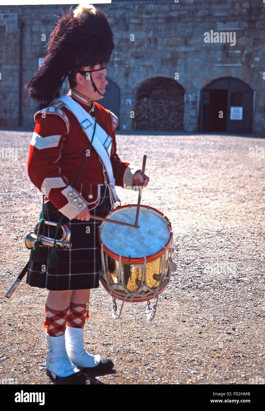 A drummer of the 78th Highland regiment,Citadel National Historic Site,Halifax,Nova Scotia - Stock Image