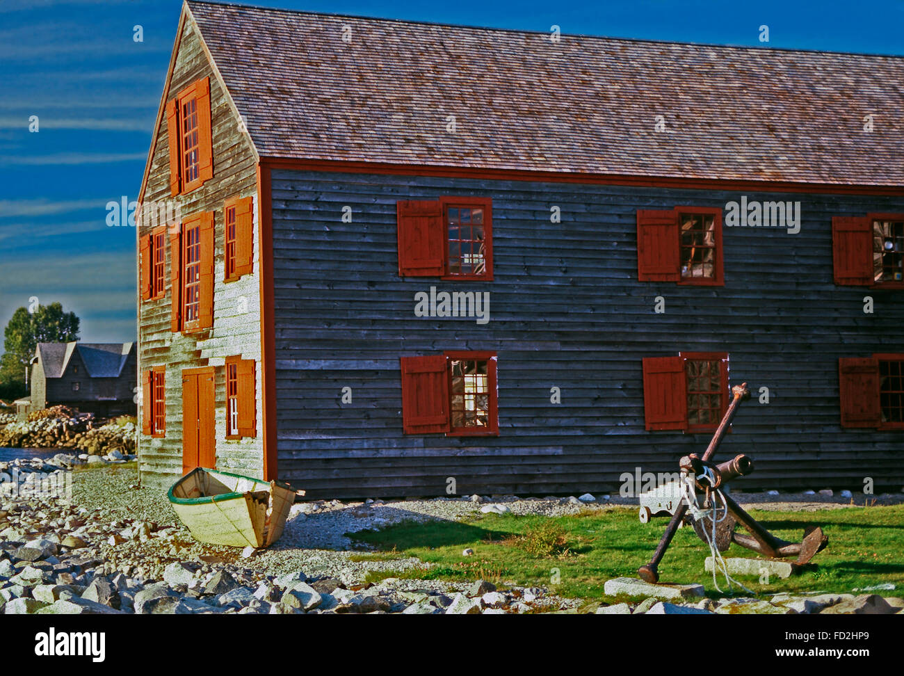 J.C.Williams Dory Shop on Historical Dock Street,Shelburne,Nova Scotia - Stock Image