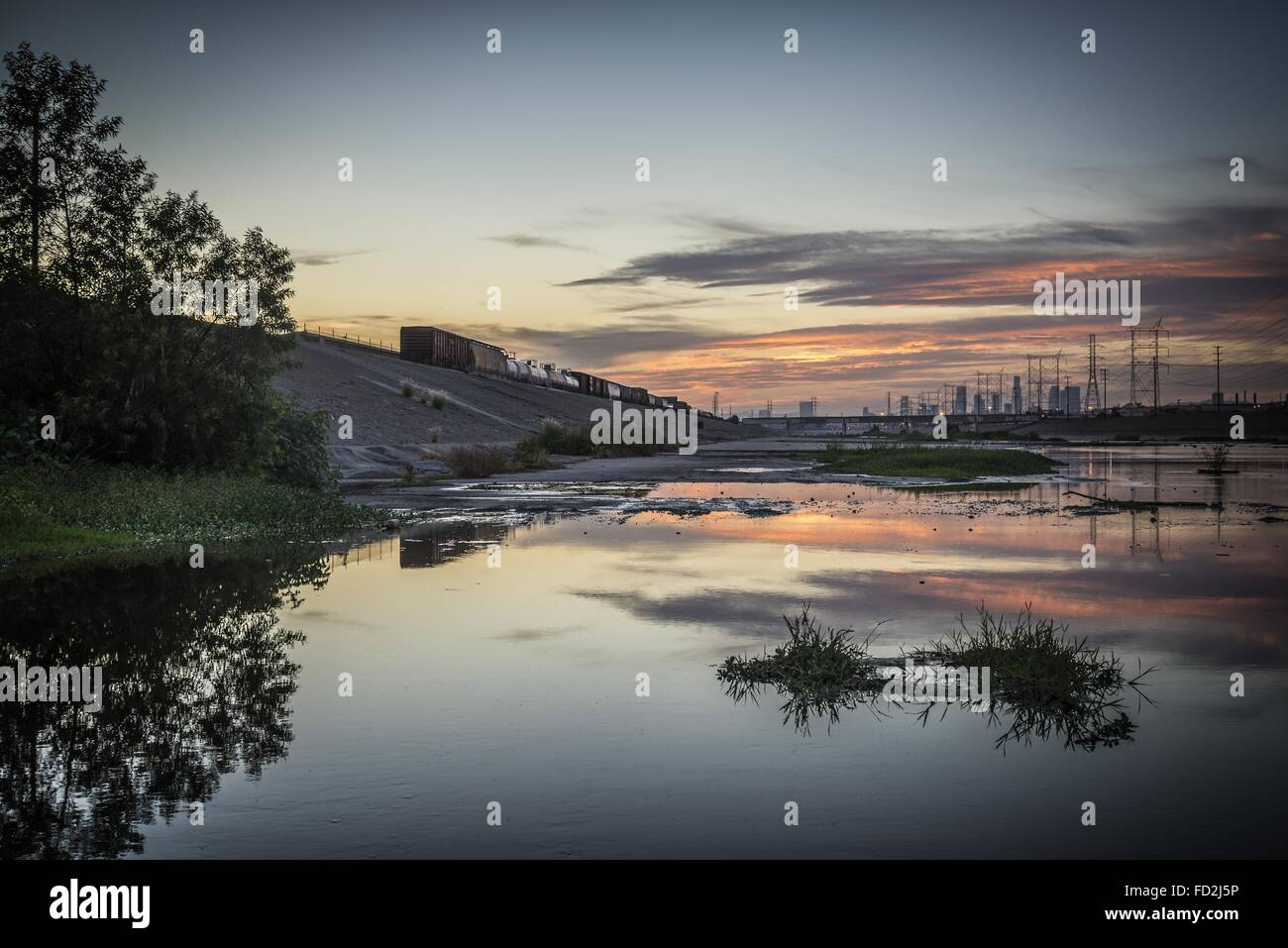 Los Angeles, California, USA. 30th Aug, 2014. Los Angeles skyline view from Maywood, in LA River © Fred Hoerr/ZUMA Stock Photo