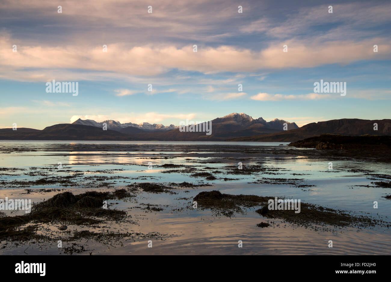 Dusk Reflections at Ord on the Isle of Skye, Scotland UK Stock Photo