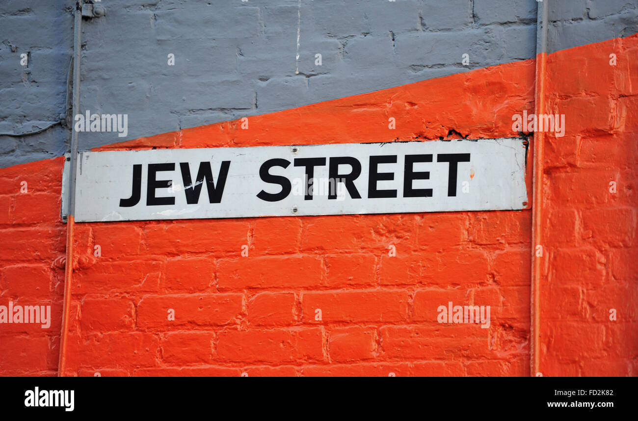 Jew Street name sign in North Laine area of Brighton UK - Stock Image