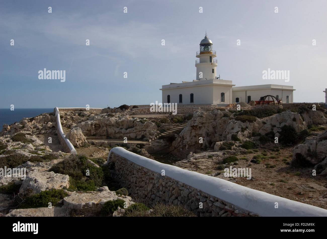 Lighthouse at Cap de Cavalleria, North Menorca, Menorca Island, Balearic Islands, Spain, Southern Europe - Stock Image