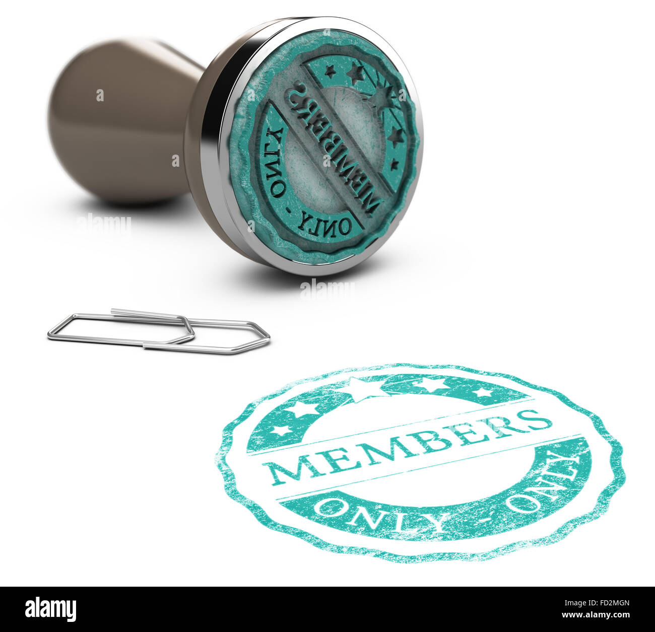 Rubber stamp image with the text members only printed on a white background. Communication concept for Illustration - Stock Image