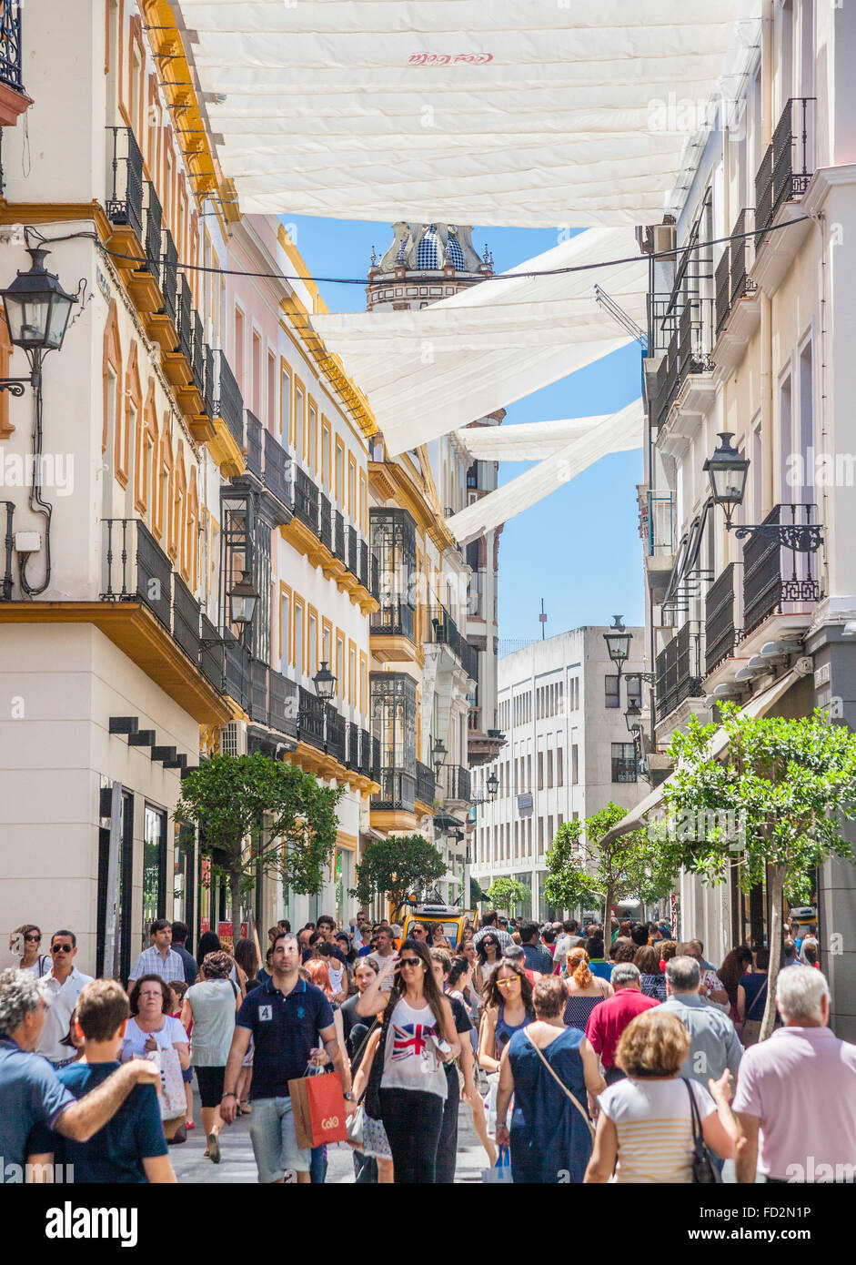 Spain, Andalusia, Province of Seville, Seville, Casco Antiguo, sun shades at Calle Tetuan pedestrian mall - Stock Image