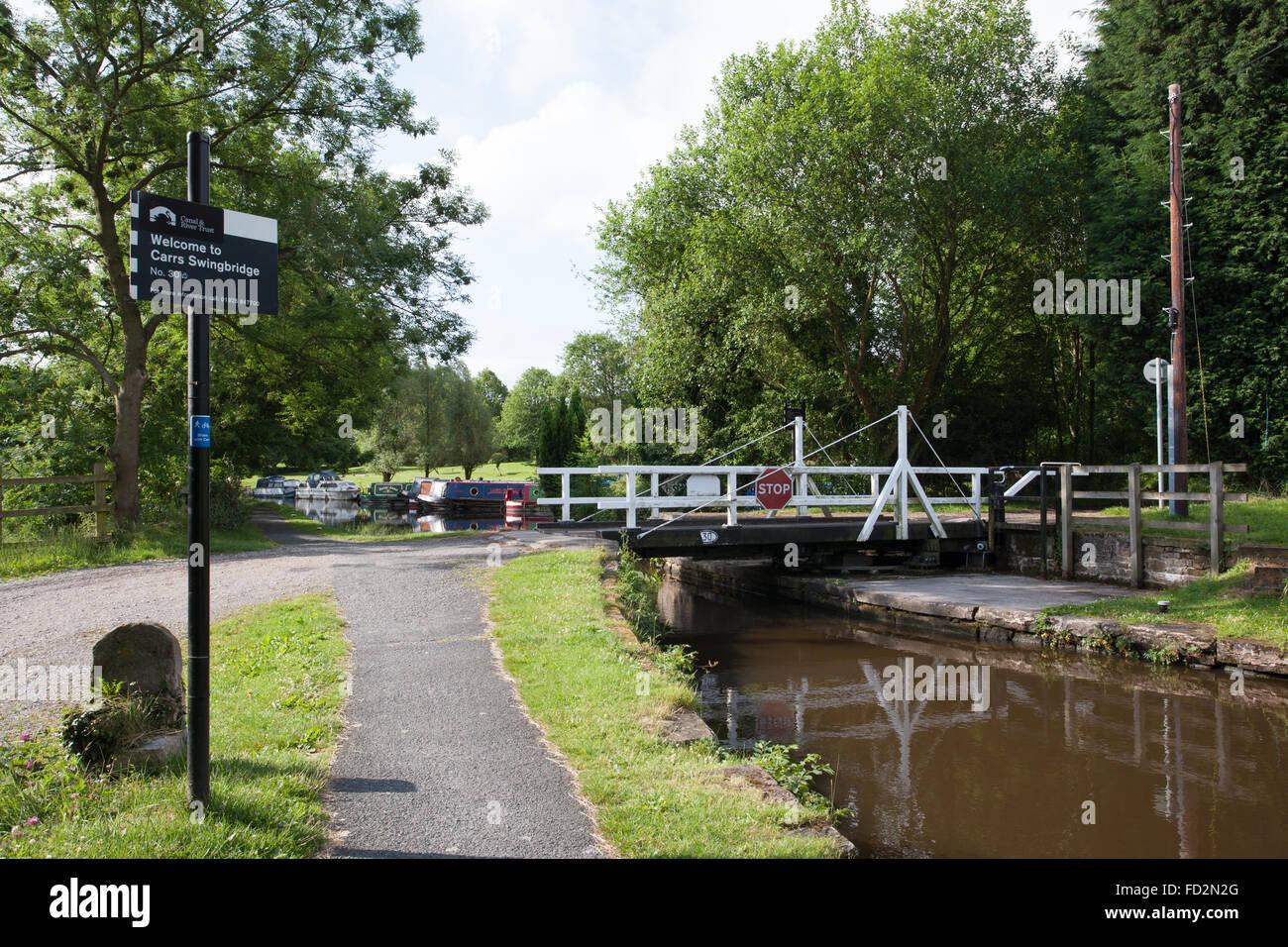 Carrs swingbridge on the Peak district canal - Stock Image