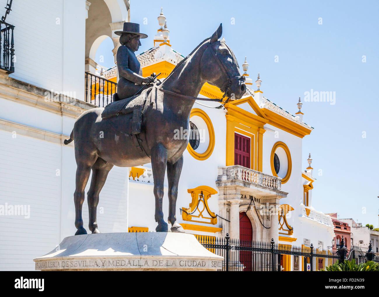 Spain, Andalusia, Province of Seville, Seville, equestrian statue of La Augusta Senora Condesa de Barcelona at Sevilles - Stock Image