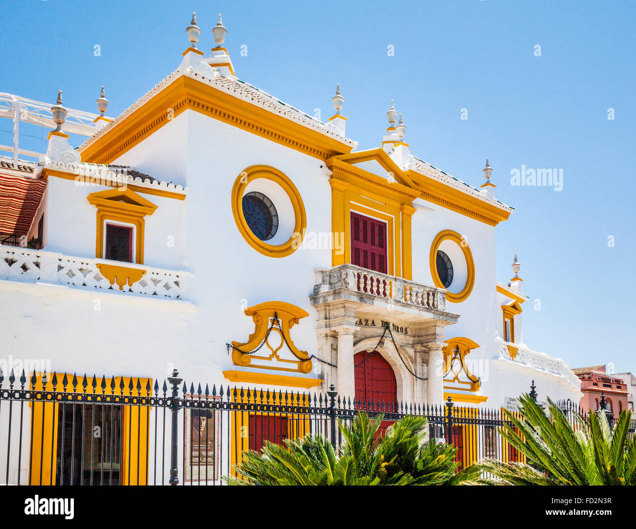 Spain, Andalusia, Province of Seville, Seville, Plaza de Torros de la Real Maestranza, facade of the Seville bullring - Stock Image