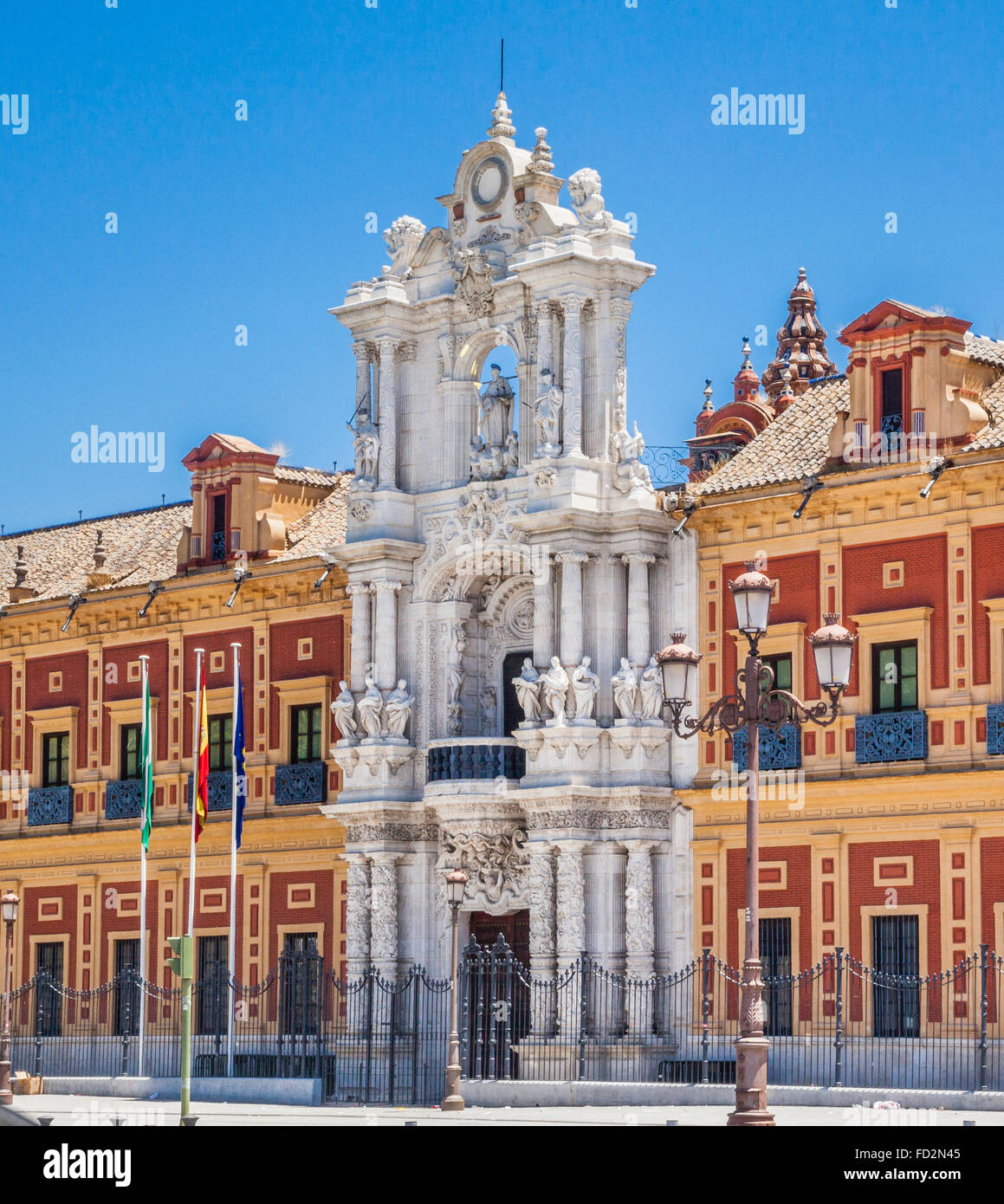 Spain, Andalusia, Province of Seville, Seville, Baroque architecture of the Palacio San Telmo - Stock Image