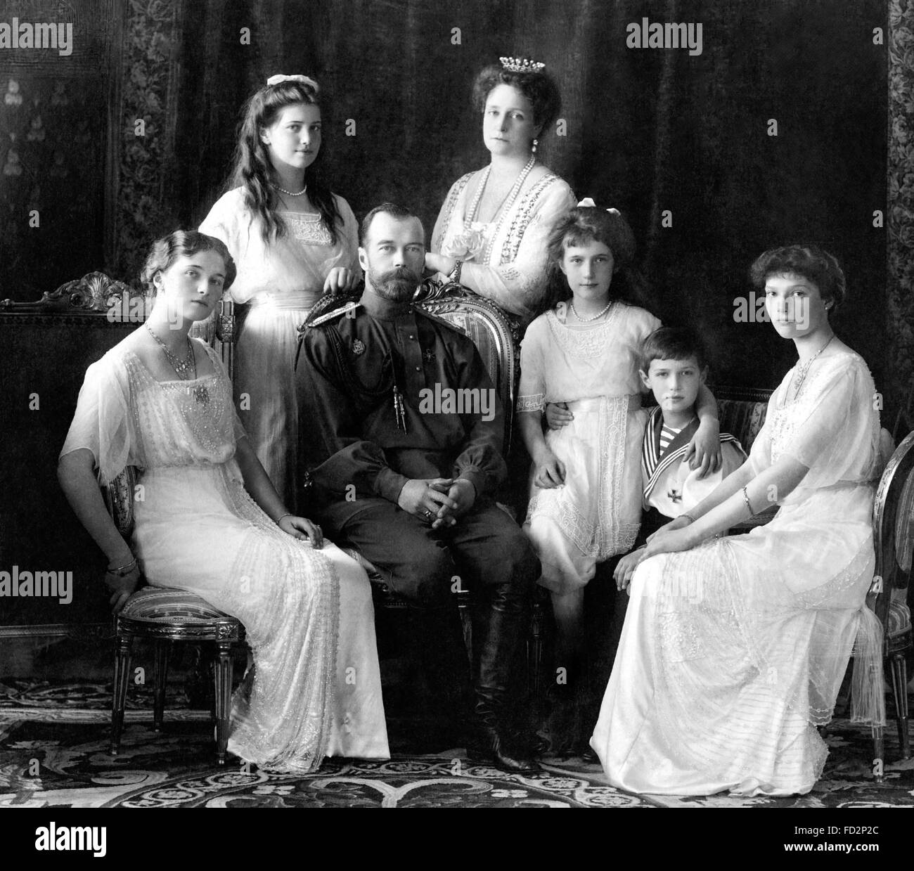 Tsar Nicholas II of Russia with his family, 1913 - Stock Image