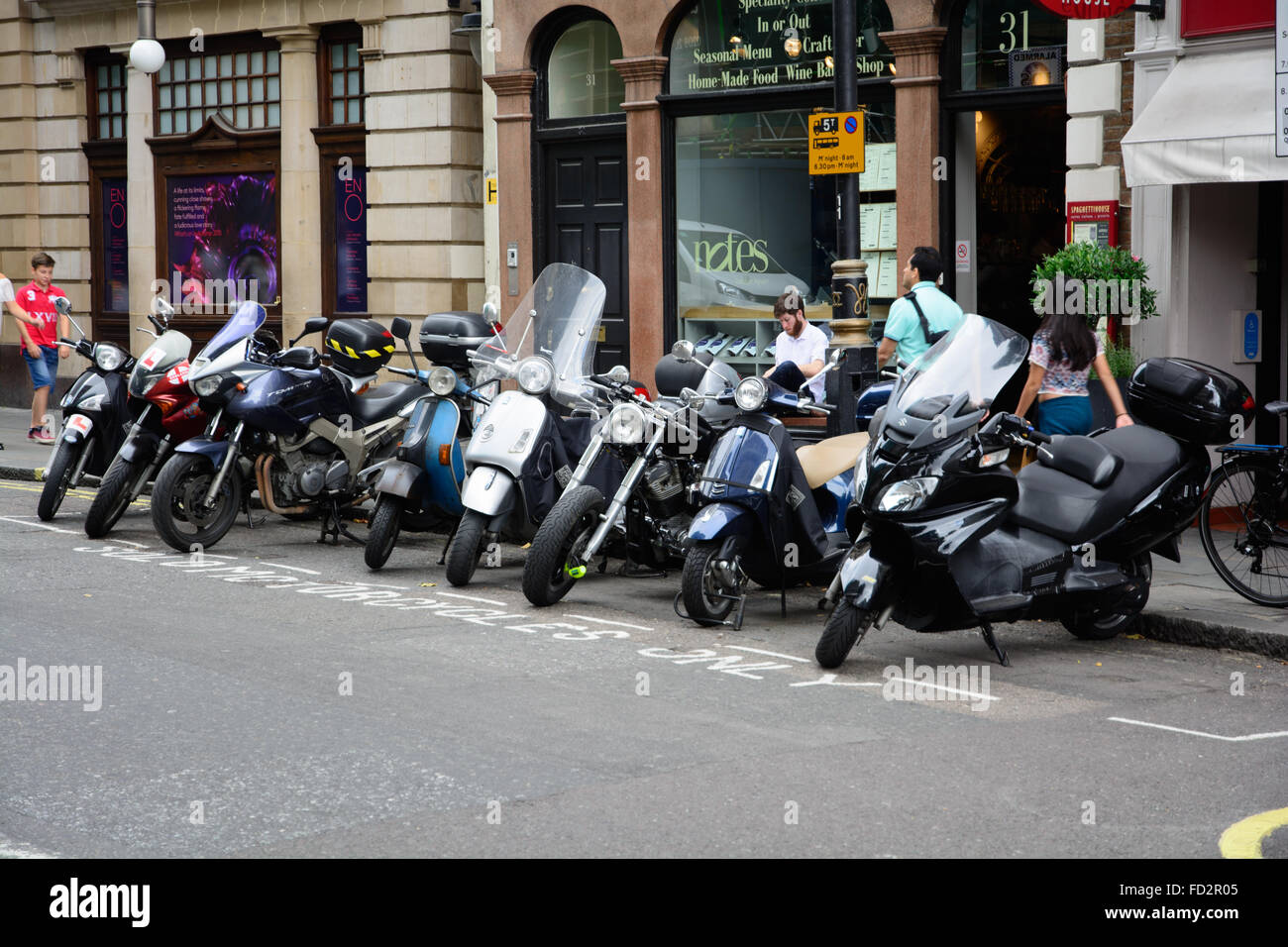 Parking place for solo motorcycles only, London - Stock Image