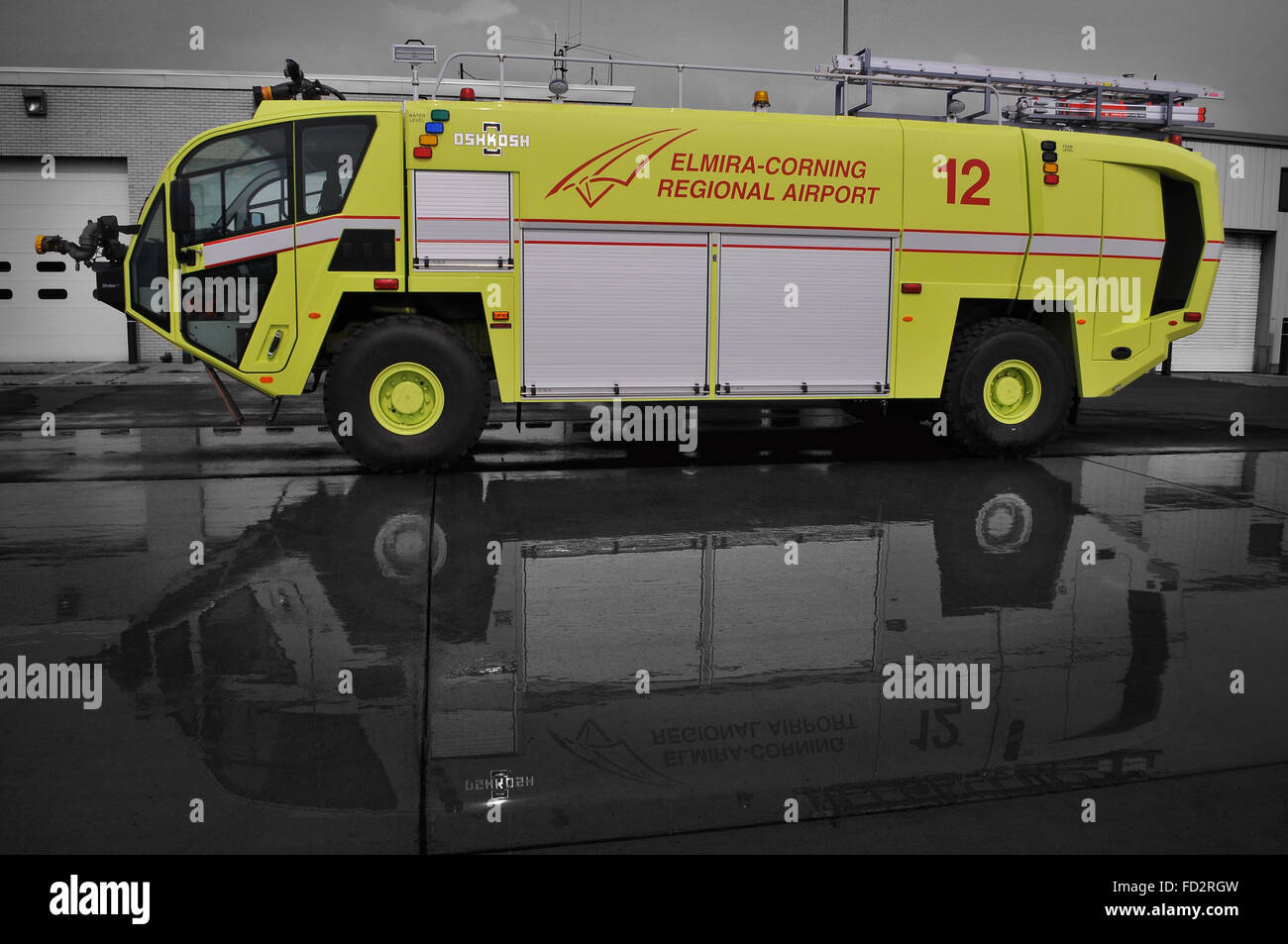 Horseheads, NY, USA - September 2, 2015 - Elmira Corning Regional Airport, Crash/Fire Rescue Trucks - Stock Image