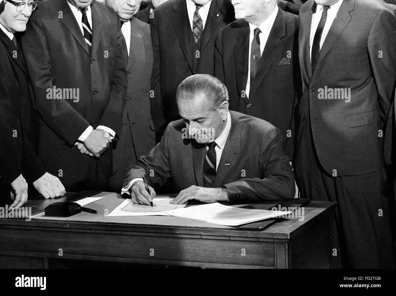 Lyndon B Johnson, the 36th President of the USA, signing the 1968 Civil Rights Bill, 11th April 1968 - Stock Image