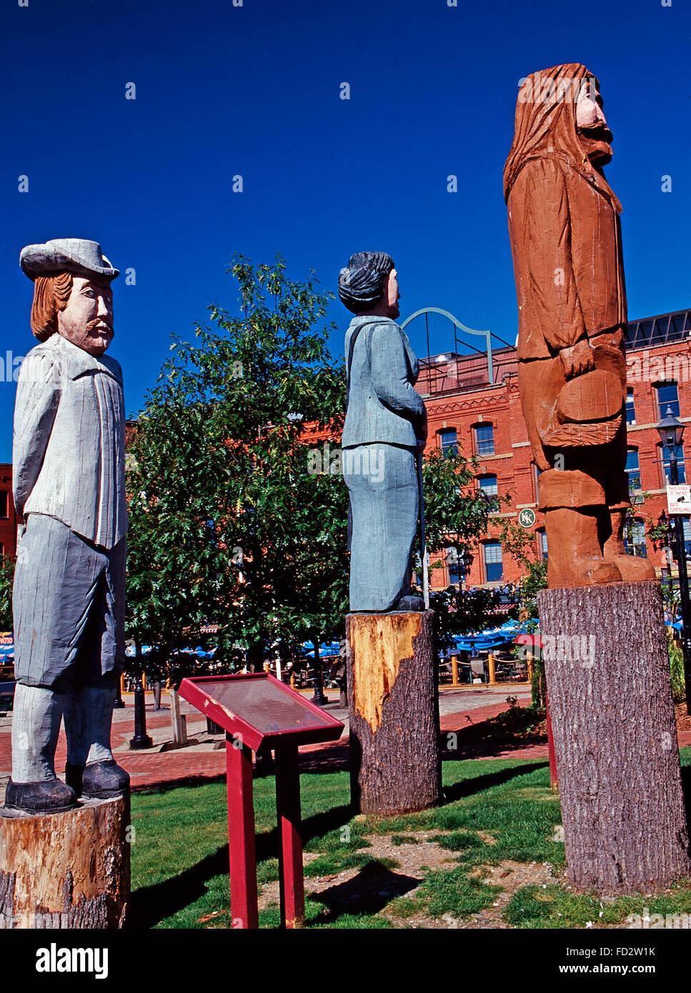 The Loyalists statue in Loyalist Plaza, Saint John,New Brunswick - Stock Image