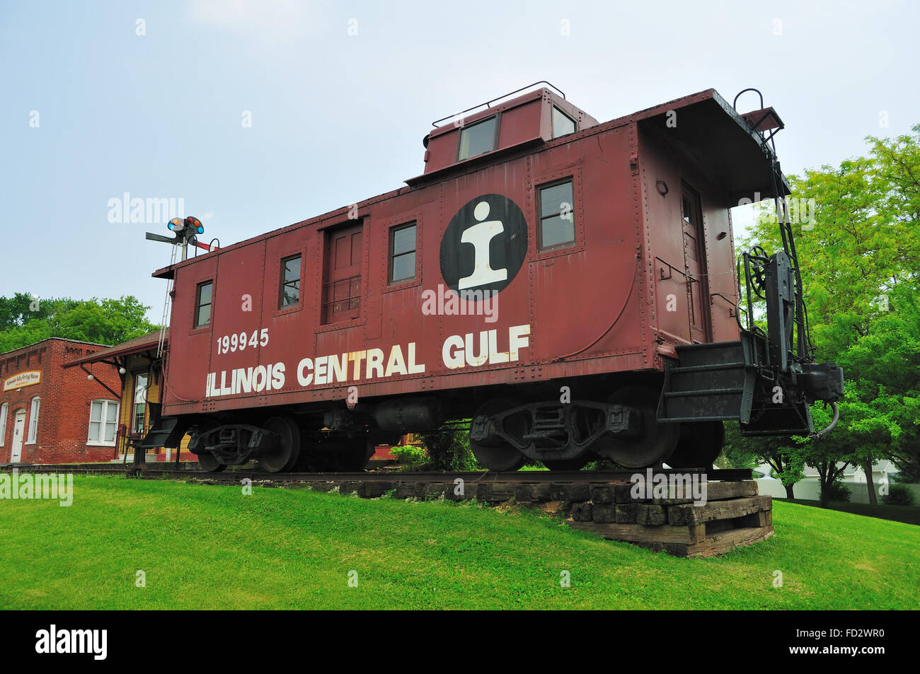 Vanishing piece of Americana and railroading in the United States, the caboose, rests at the Kishwaukee Valley Heritage - Stock Image