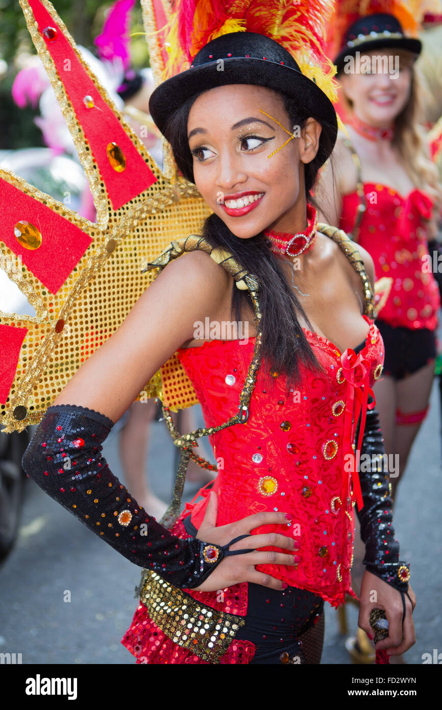 Dancers from Paraiso School of Samba, Notting Hill Carnival 2013 - Stock Image
