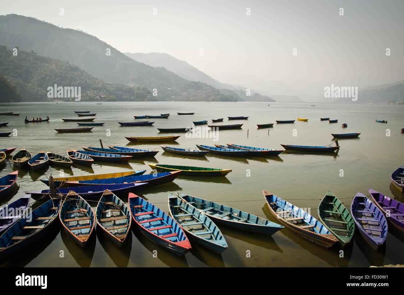 Boats on Phewa Lake, Pokhara, Nepal - Stock Image