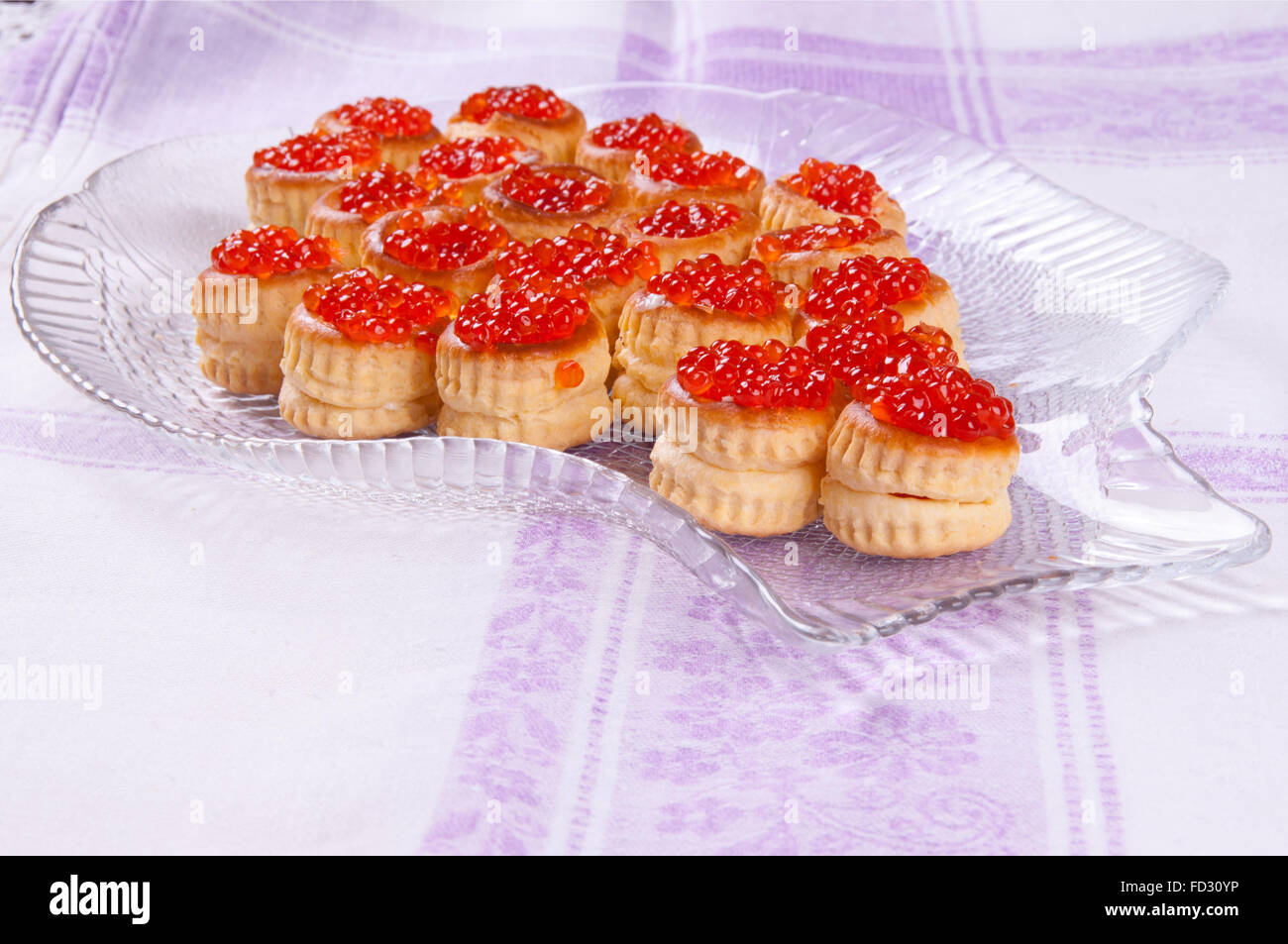 tartlets with red caviar - Stock Image