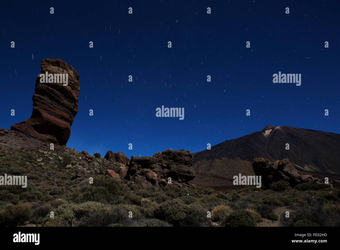 Stars trail in the night sky above Los Roques de Garcia and Mount Teide in Teide National Park on Tenerife, Spain. - Stock Image