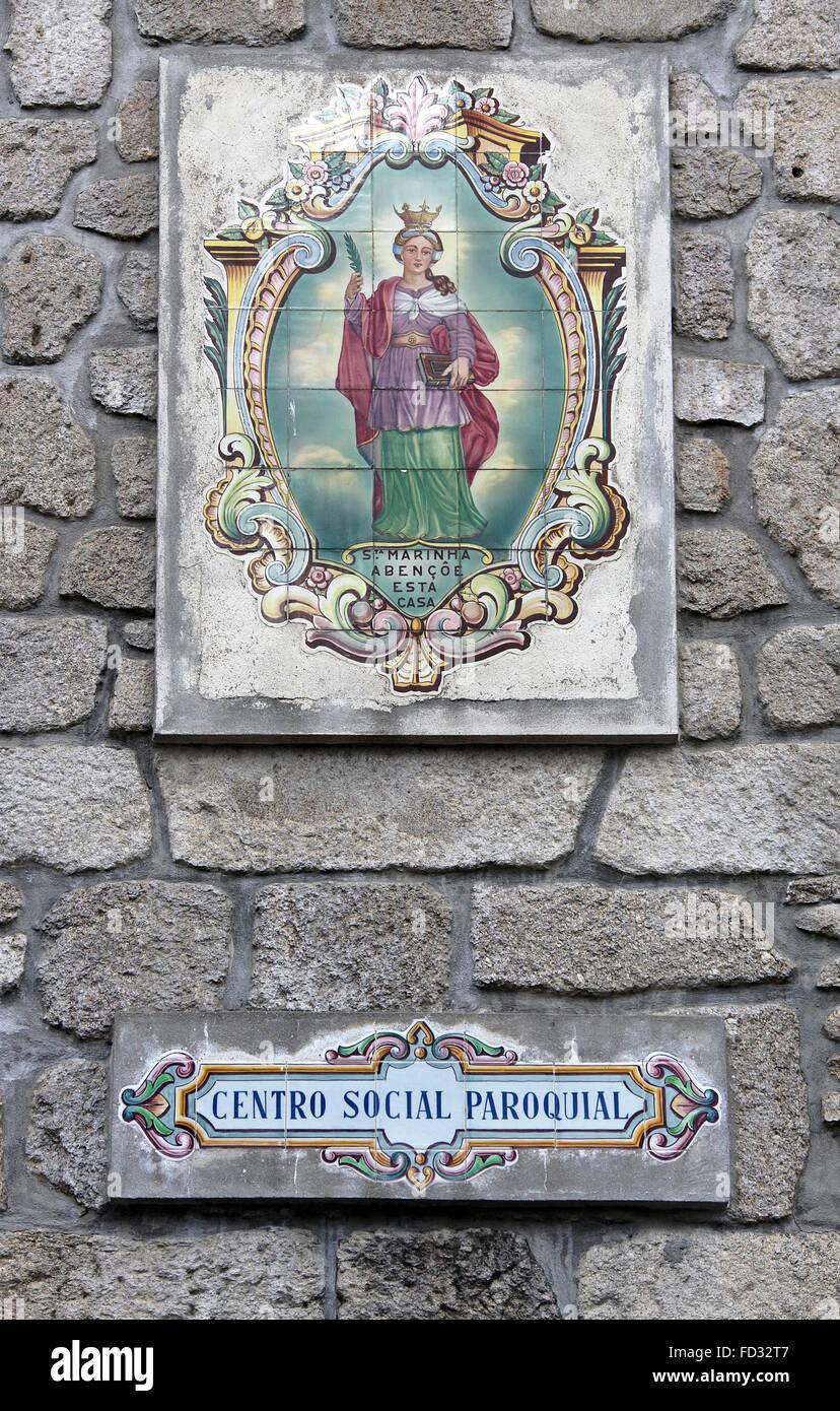 Tilework at Vila Nova de Gaia in Porto - Stock Image
