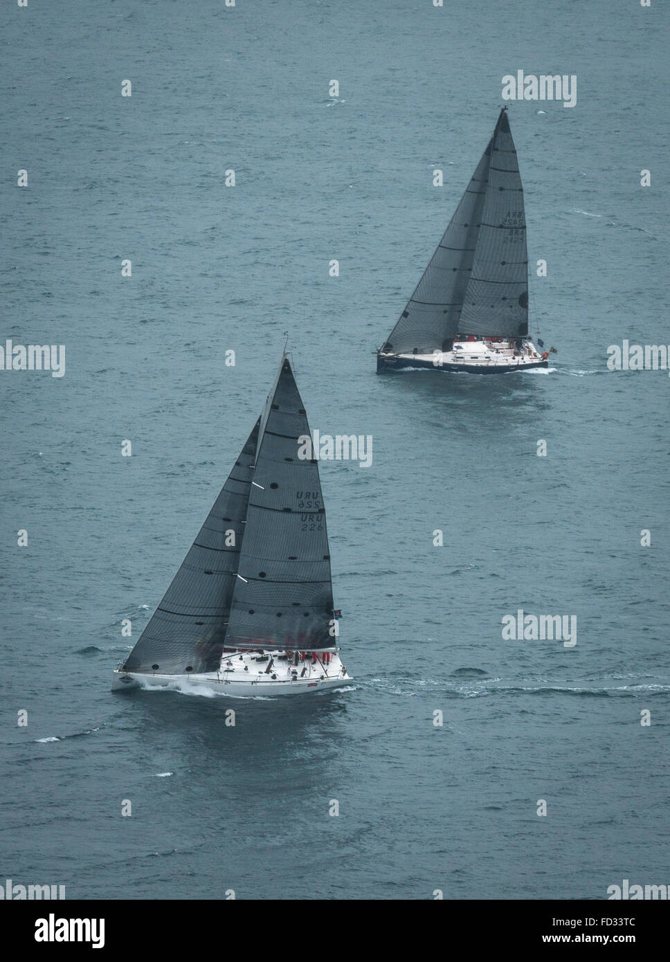 Sail boats race at the Ilhabela Sailing Week of 2015 - Stock Image