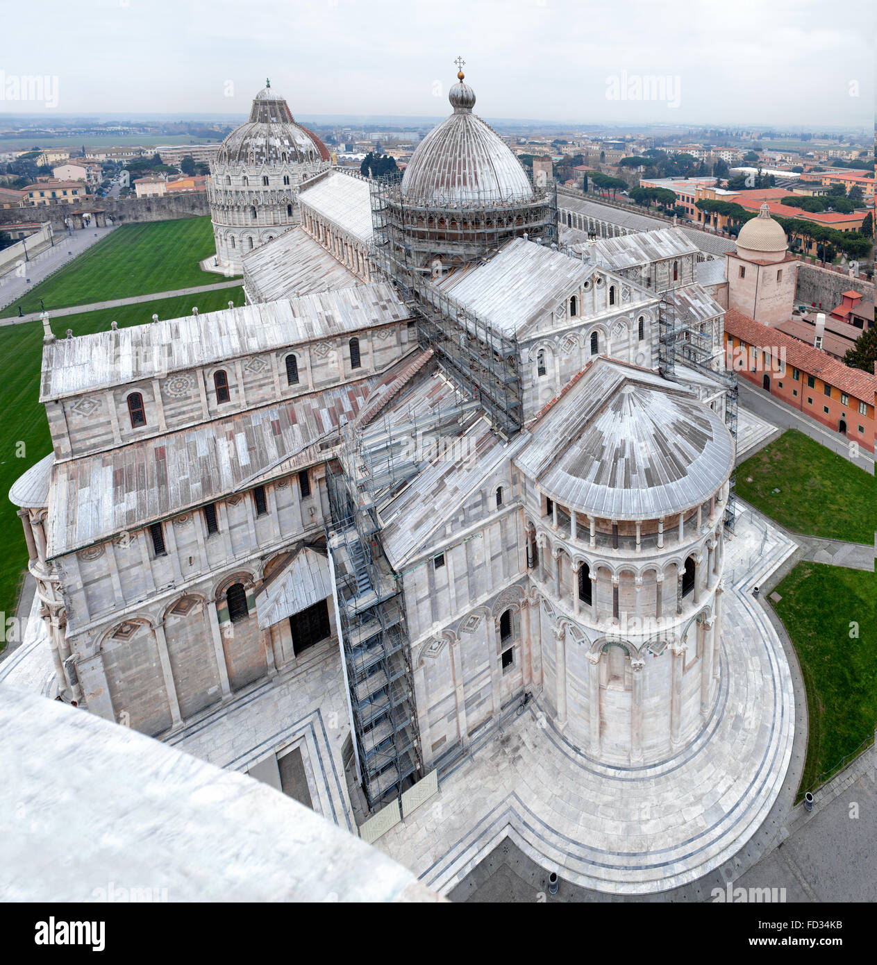 Aerial View Of Pisa Cathedral Stock Photo
