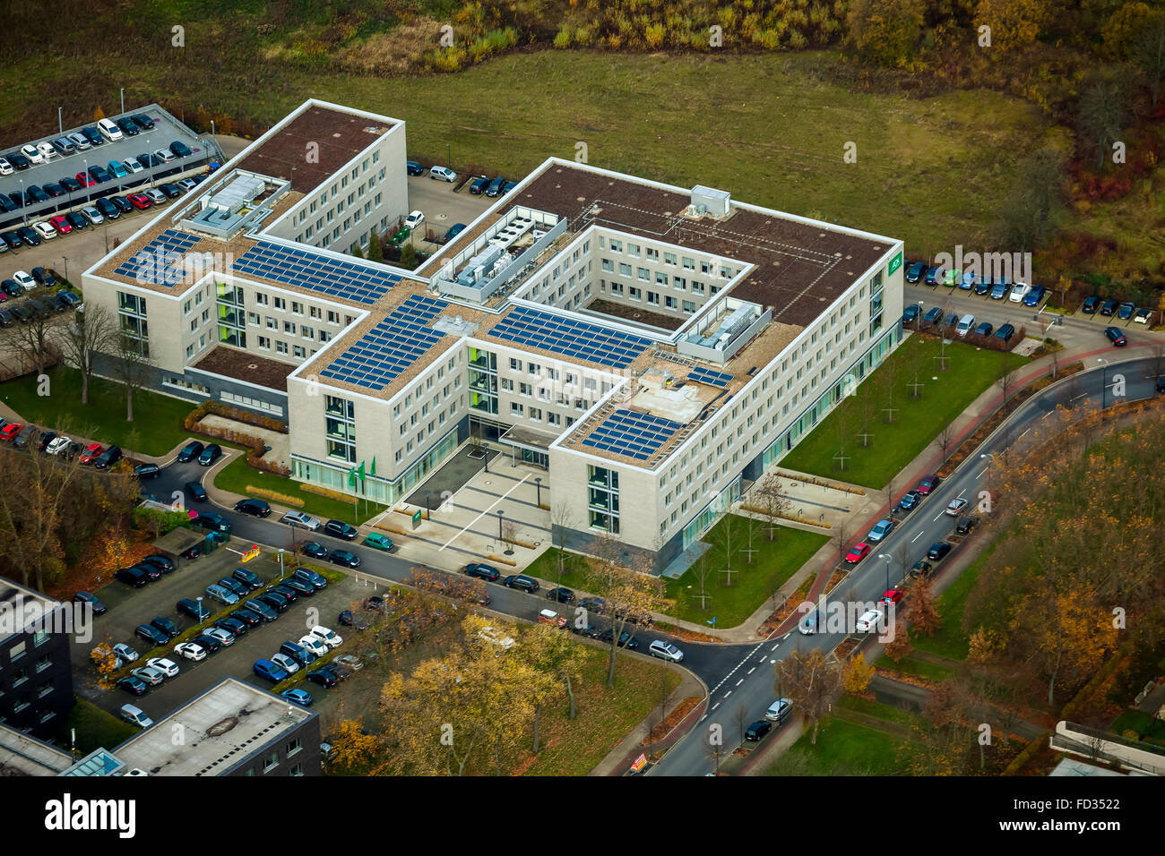 Aerial view, AOK administration Stadtkrone Ost, Allgemeine Ortskrankenkasse, health insurance, health system, Dortmund, - Stock Image