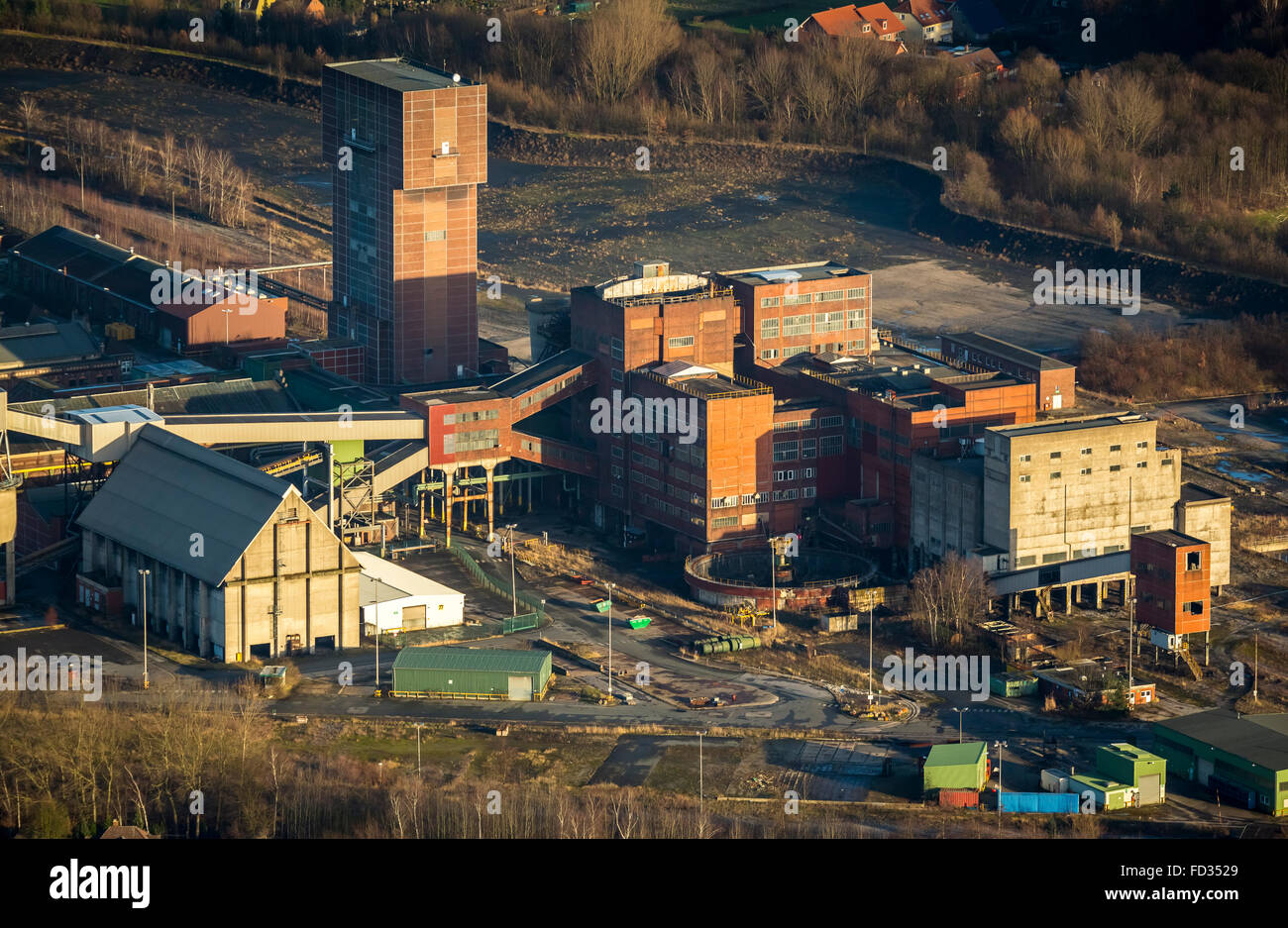 Aerial view, closed mine, structural change, former coal mine Heinrich-Robert, mine-Ost, Hamm, Ruhr area, North - Stock Image