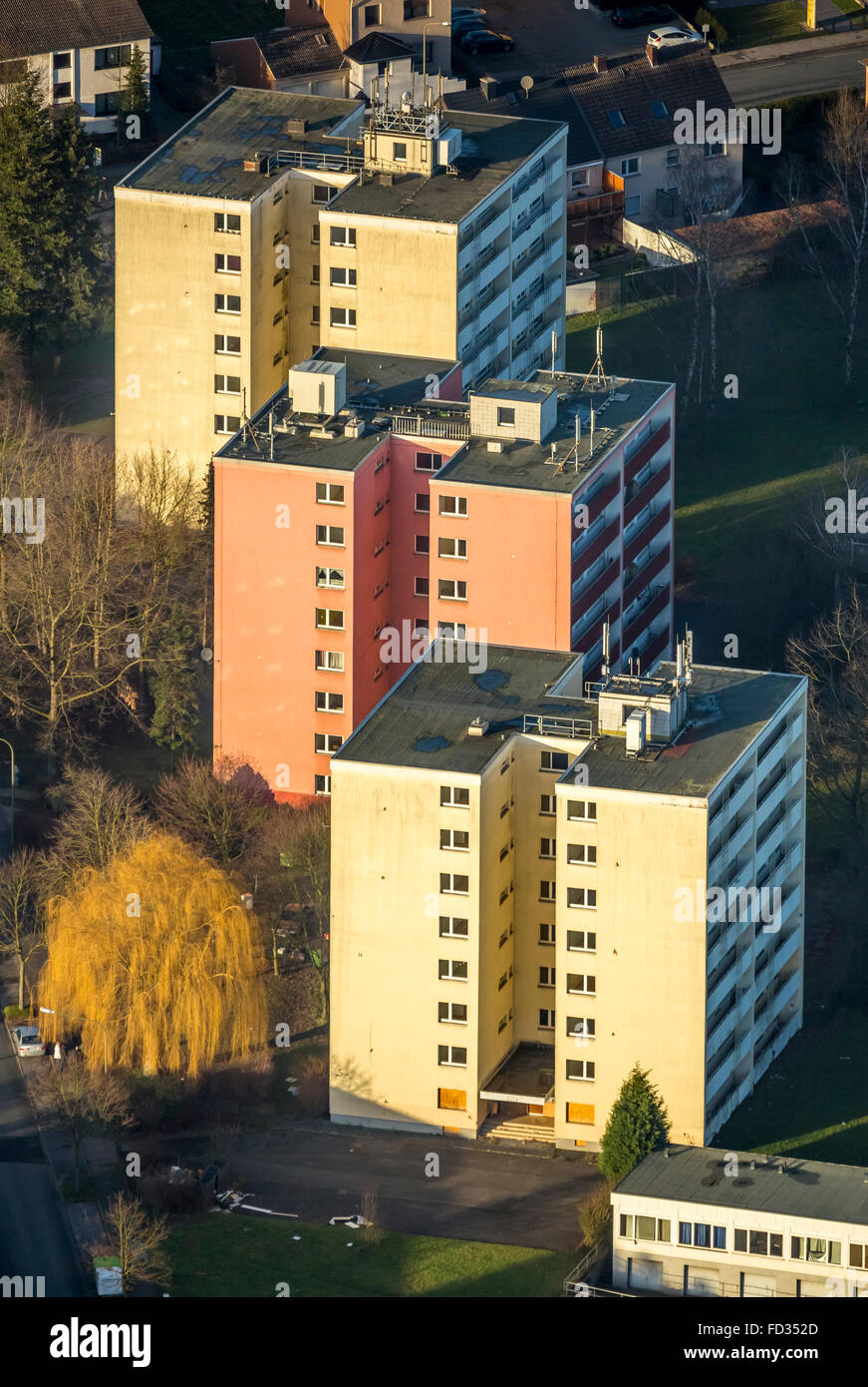 Aerial view, junk property, social hot spot, Herringen skyscrapers Waldenburgerstrasse, Hamm, Ruhr area, North Rhine - Stock Image