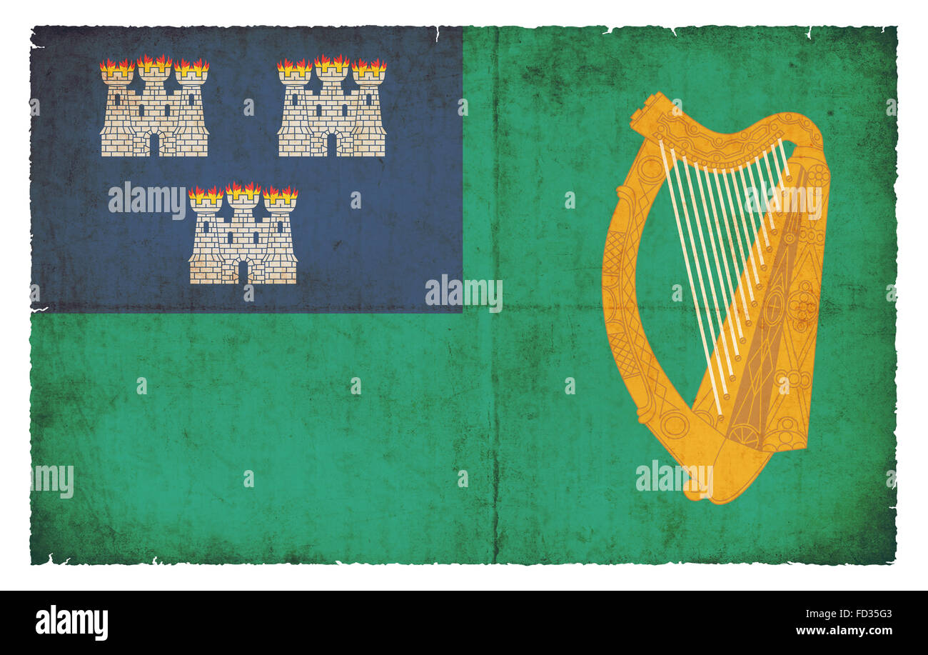 Flag of the Irish county City of Dublin created in grunge style - Stock Image