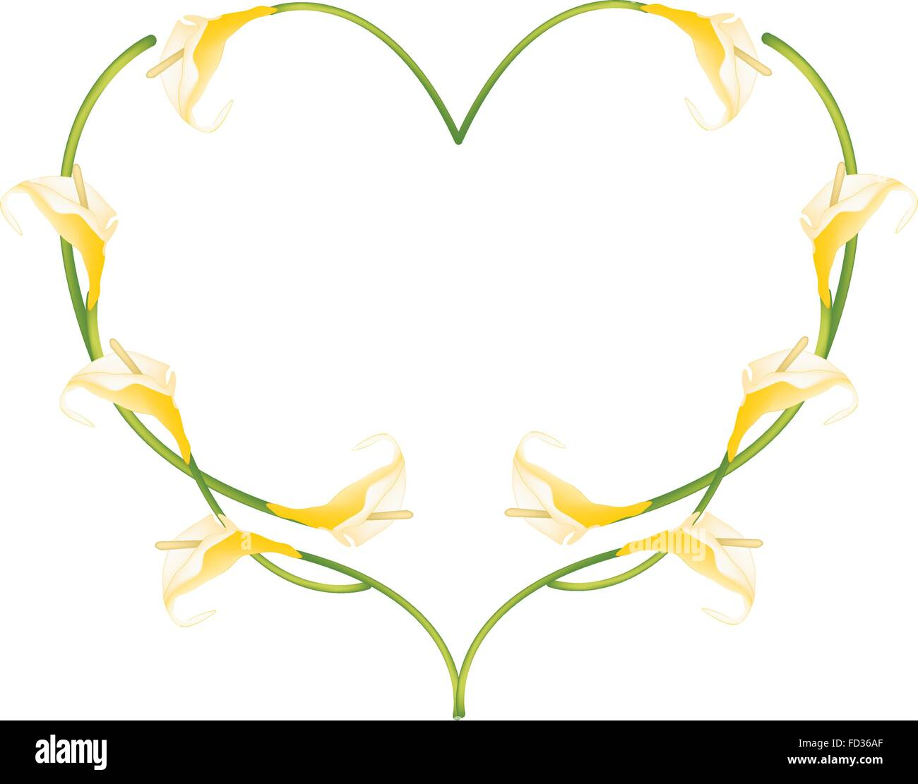 Love Concept, Illustration of Yellow Anthurium Flowers or Flamingo Flowers Forming in Heart Shape Isolated on White - Stock Vector