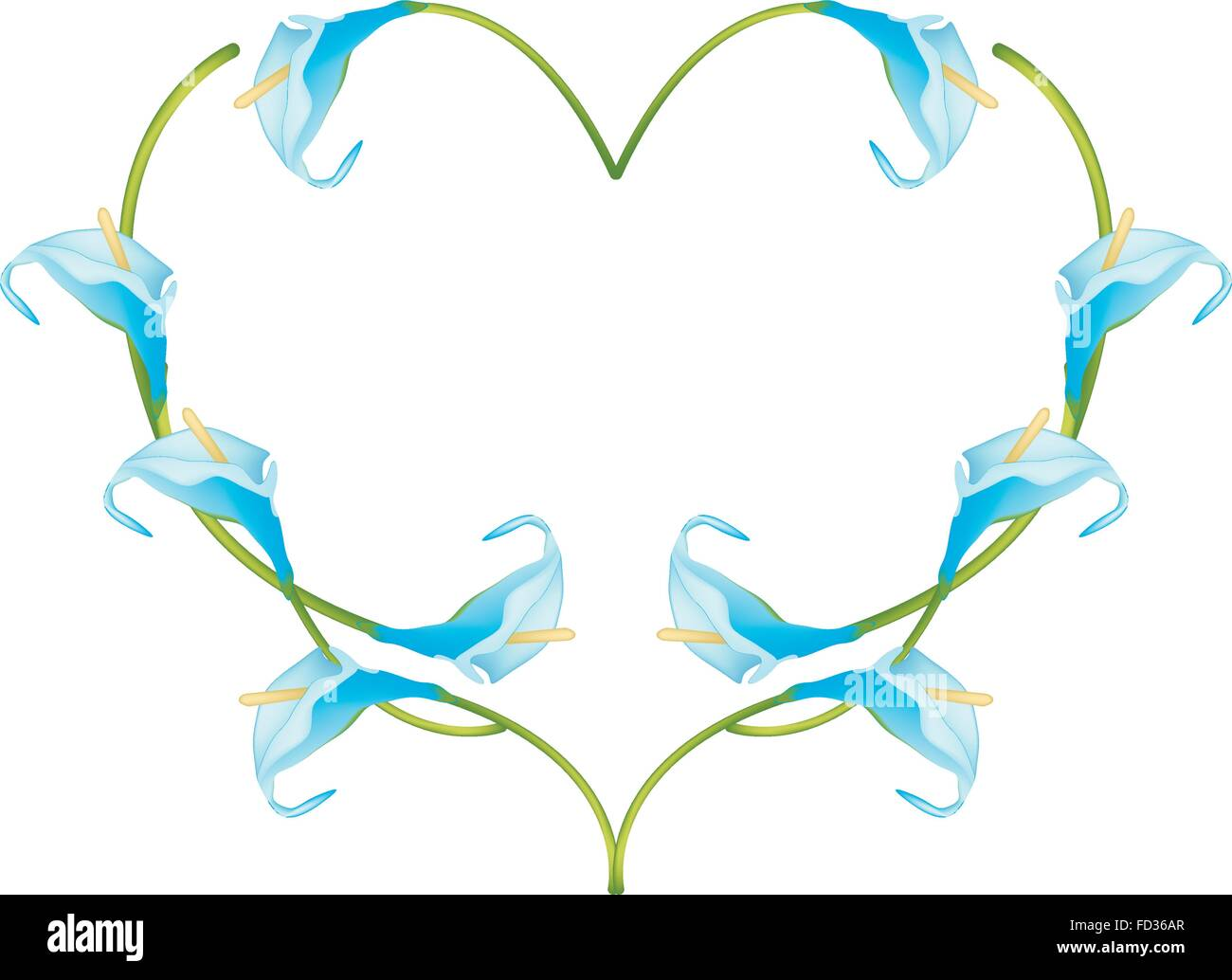 Love Concept, Illustration of Light Blue Anthurium Flowers or Flamingo Flowers Forming in Heart Shape Isolated on - Stock Vector