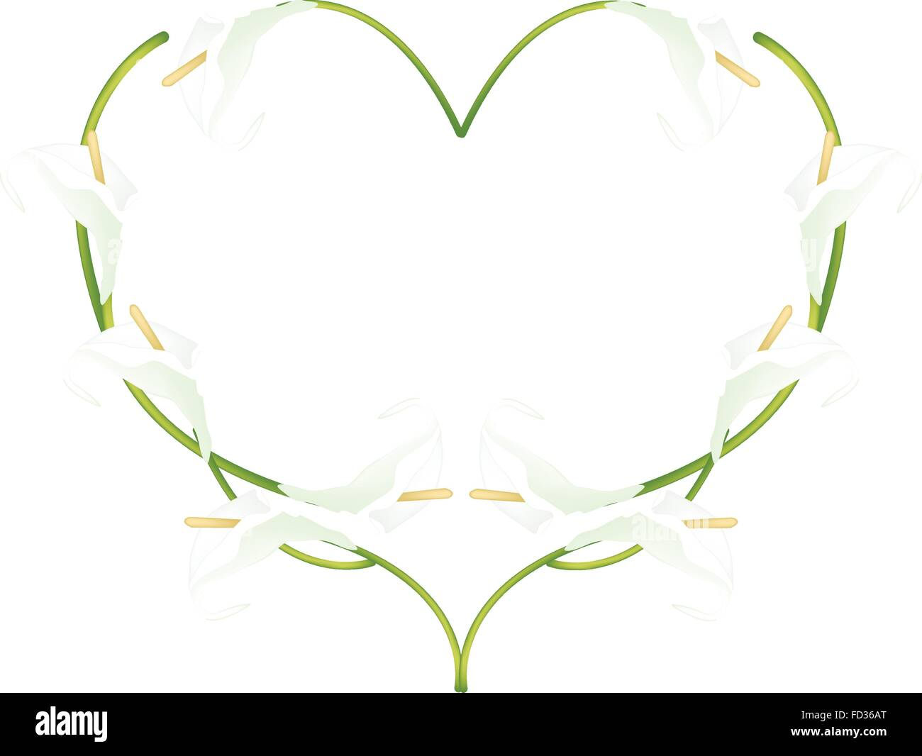 Love Concept, Illustration of White Anthurium Flowers or Flamingo Flowers Forming in Heart Shape Isolated on White - Stock Vector