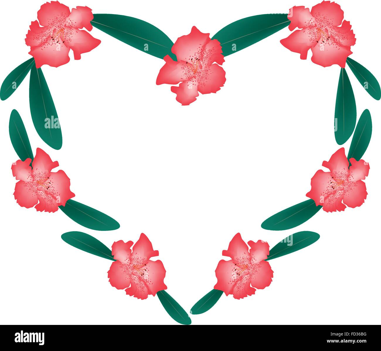 Love Concept, Illustration of Red Rhododendron Flowers Forming in Heart Shape Isolated on White Background. - Stock Vector