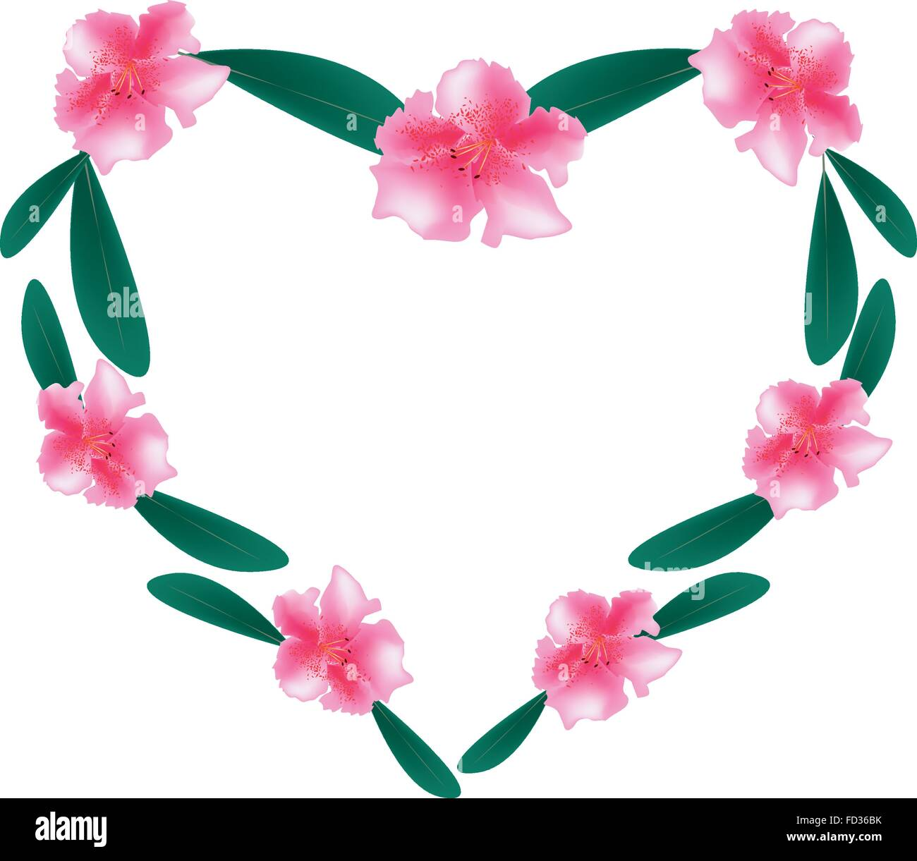 Love Concept, Illustration of Pink Rhododendron Flowers Forming in Heart Shape Isolated on White Background. - Stock Vector