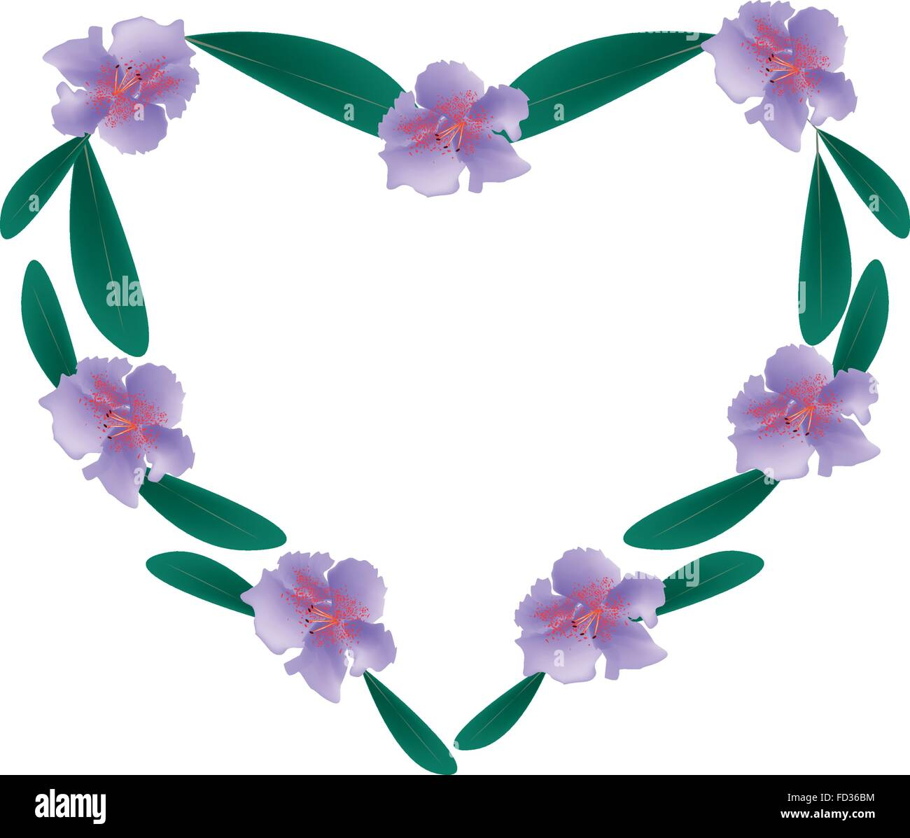 Love Concept, Illustration of Purple Rhododendron Flowers Forming in Heart Shape Isolated on White Background. - Stock Vector