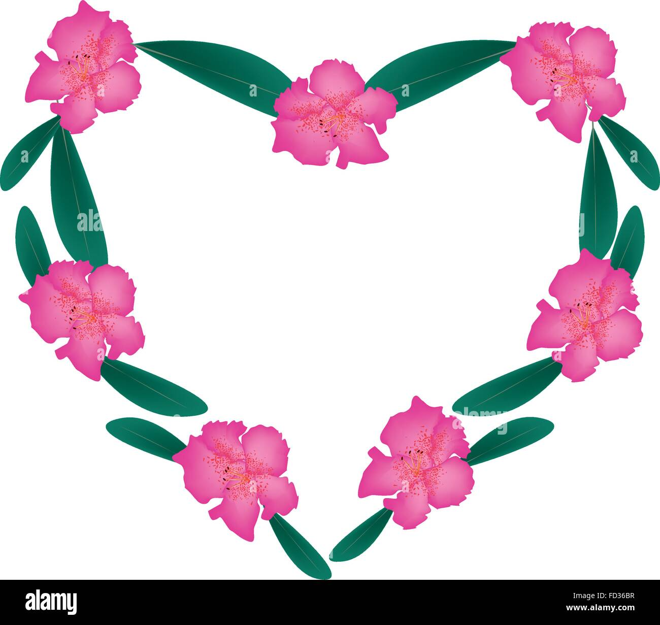 Love Concept, Illustration of Pink Rhododendron Flowers Forming in ...